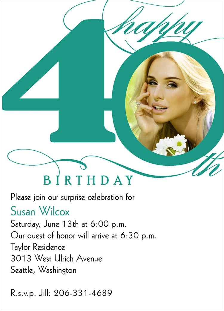 Simple 40th Birthday Invitation Wording