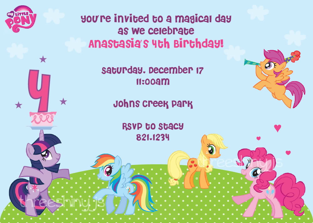 photo regarding My Little Pony Printable Birthday Cards titled Basic My Minimal Pony Free of charge Printable Birthday Invitation
