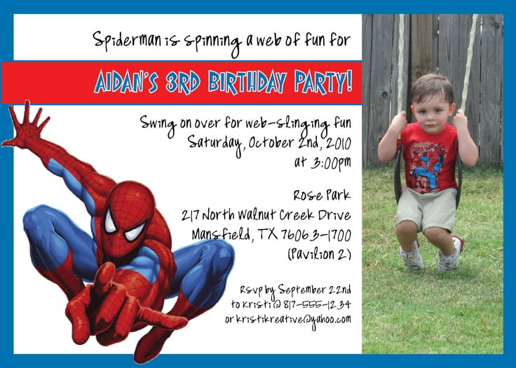 Simple Spiderman Birthday Invitations 3rd