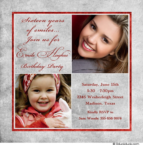 Simple Sweet 16 Birthday Invitations Templates