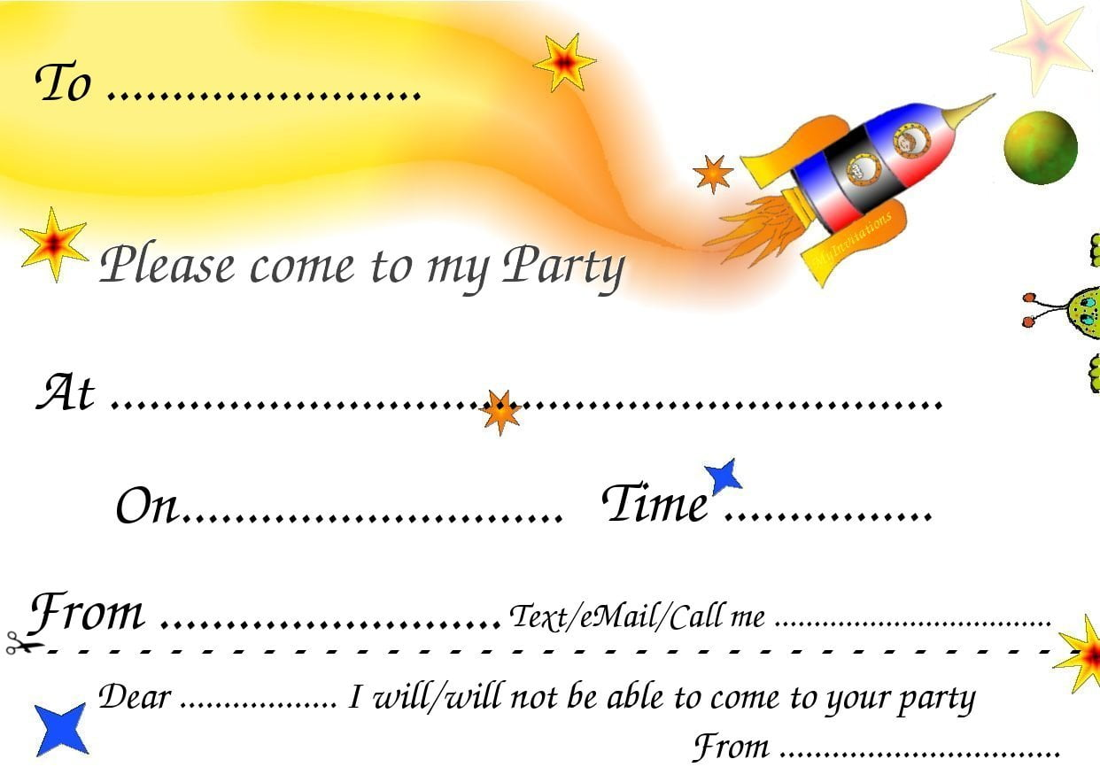 Space Free Birthday Party Invitations