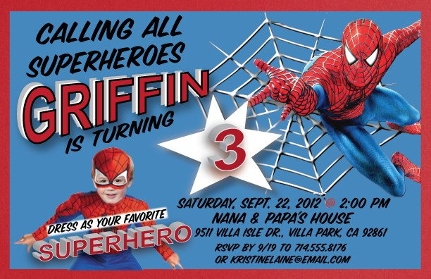 Spiderman 2 Superhero Birthday Party Invitations
