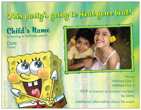 Spongebob Cheap FREE Printable Birthday Invitation Templates