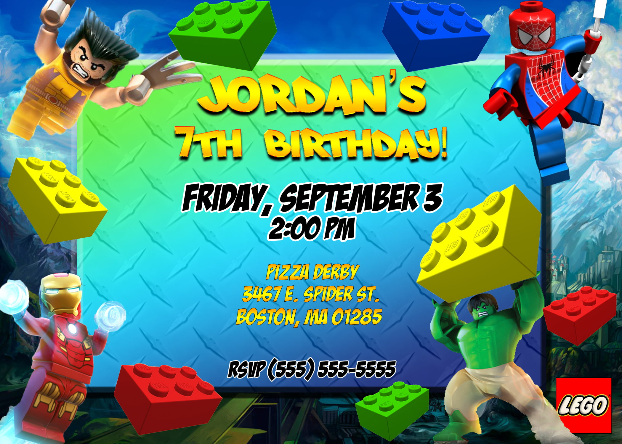 Superhero Lego Birthday Party Invitation