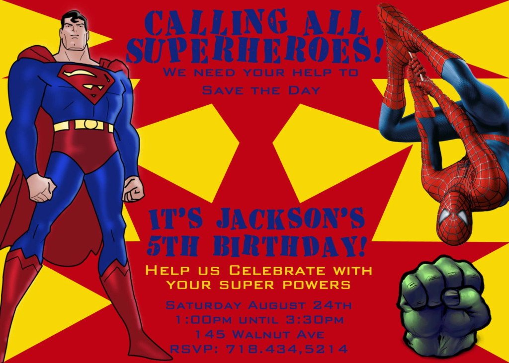 Superman Superhero Birthday Party Invitations