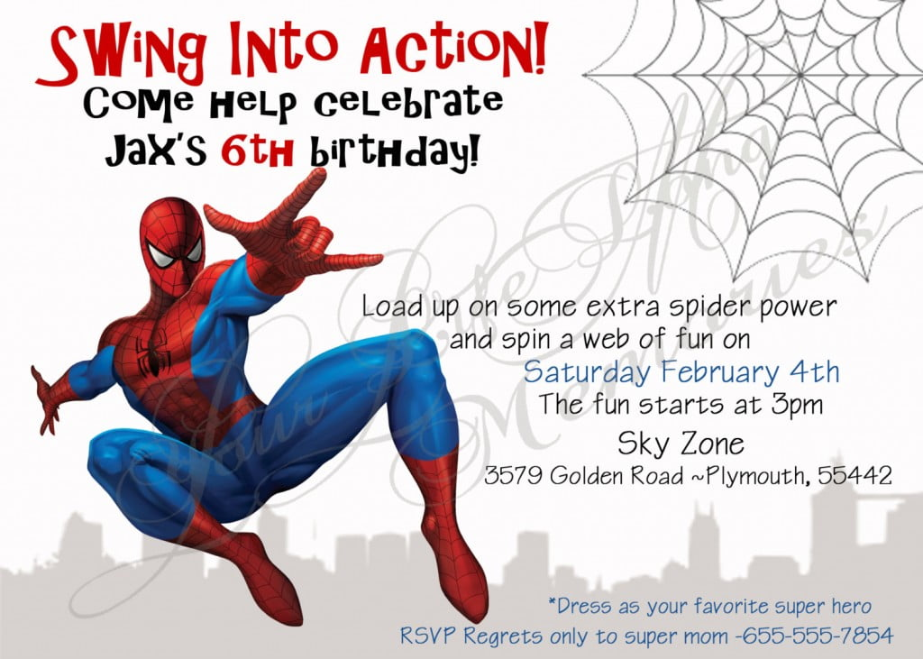 Spiderman birthday invitations ideas bagvania free printable swinging spiderman birthday invitations stopboris Choice Image