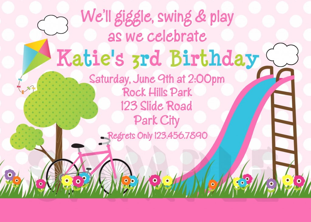 Theme Park Girl Birthday Invitations
