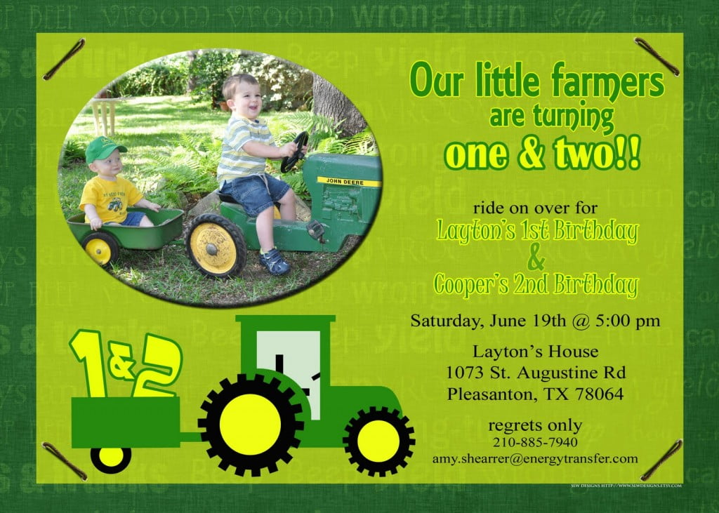 Tractors John Deere Birthday Invitation