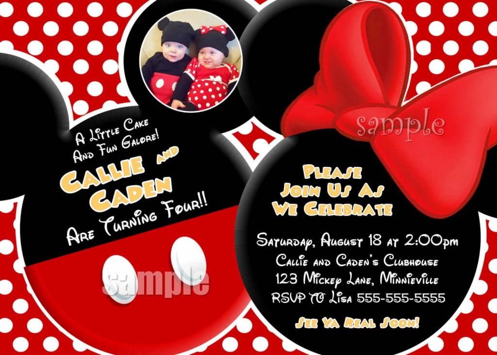Twin Mickey Mouse Clubhouse Birthday Invitations