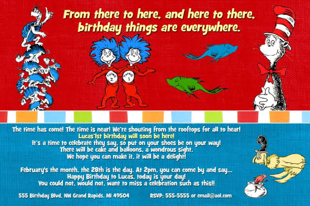 Wording Dr Seuss FREE Printable Birthday Invitation Templates Bagvania
