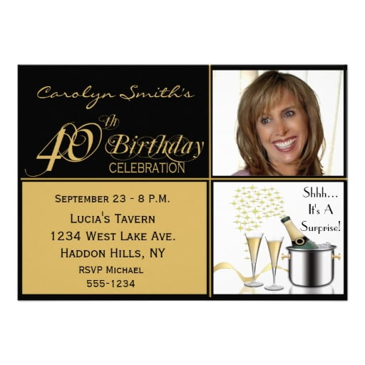 surprise 40th birthday party invitation ideas