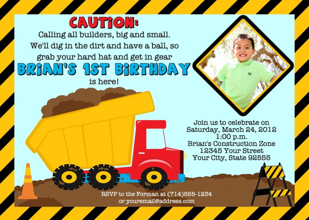 1st Construction Birthday Invitations