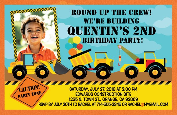 2nd Construction Birthday Invitations
