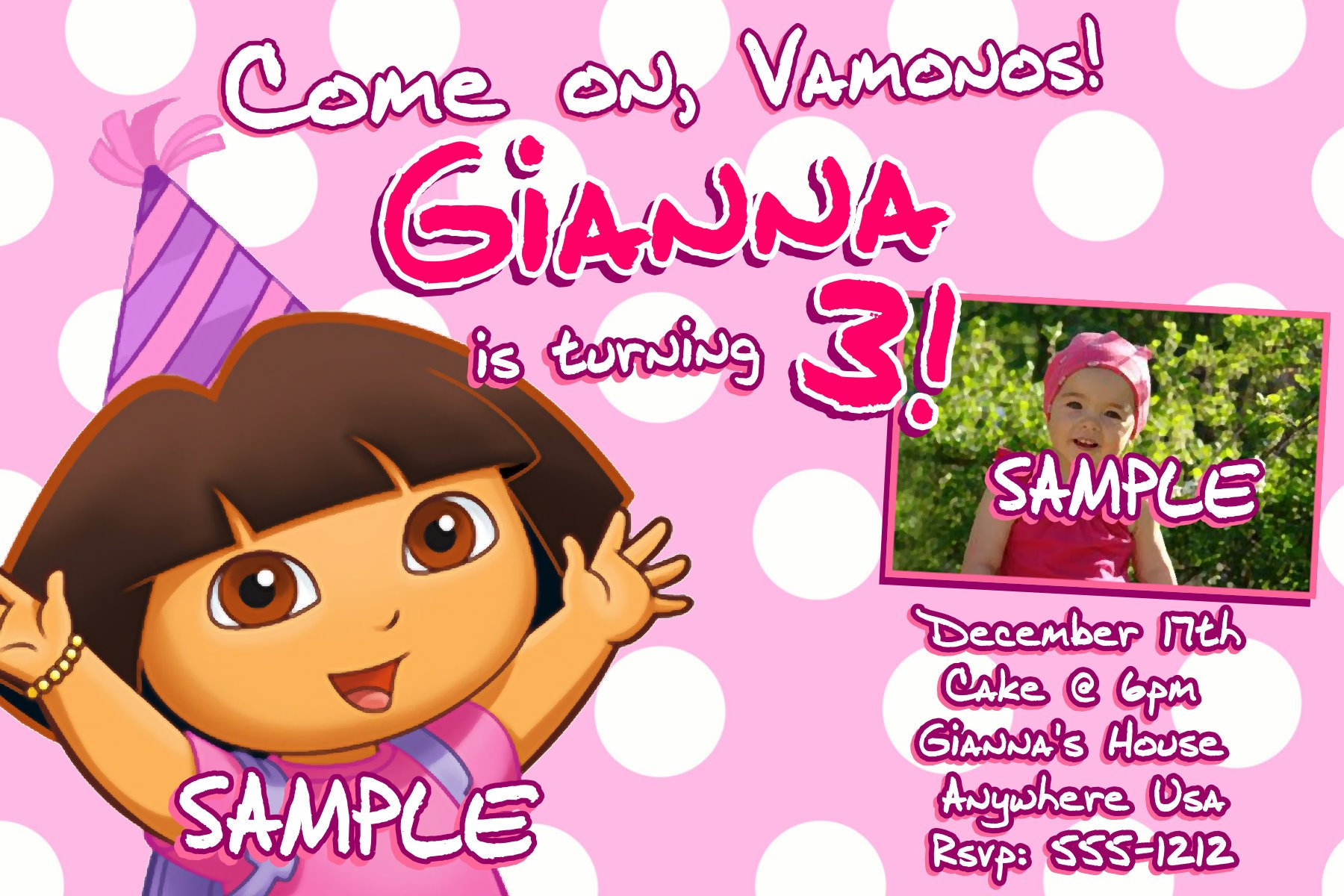 3rd Dora Ideas – Bagvania FREE Printable Invitation Template