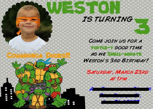 3th Ninja Turtle Birthday Invitations
