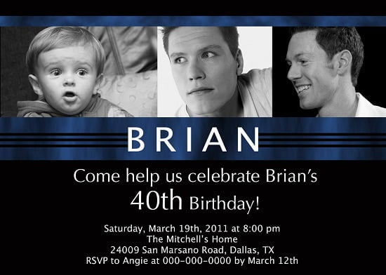 40th birthday invitations poems for man