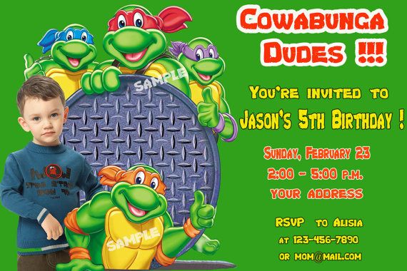 5th ninja turtle birthday invitations