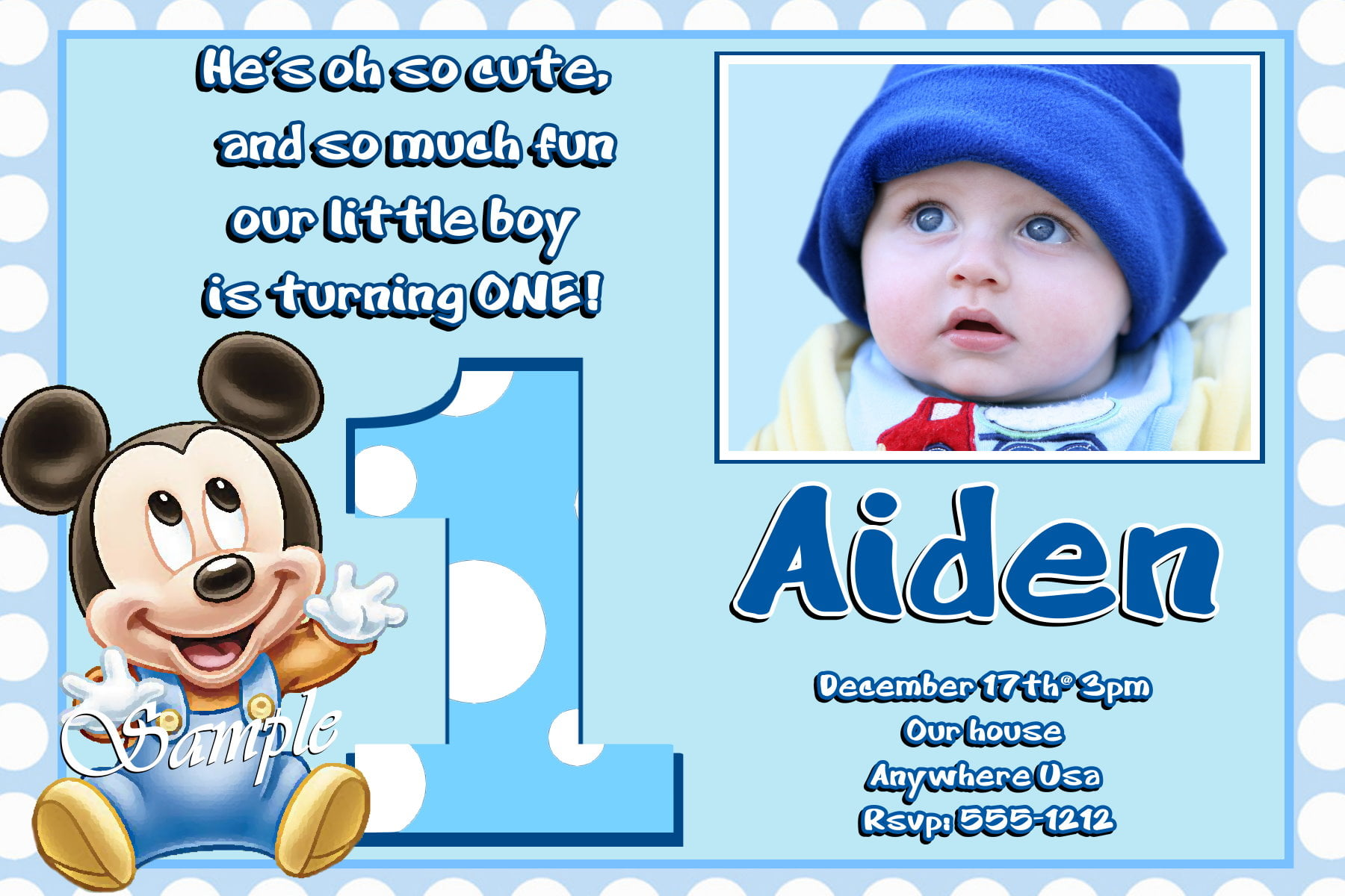 image regarding Free Printable Mickey Mouse 1st Birthday Invitations called Boy or girl Mickey Mouse 1st No cost Printable Birthday Invitation
