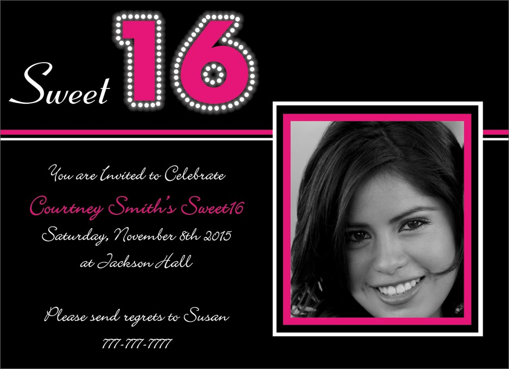 Black And White Sweet 16 Birthday Invitations