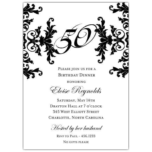 Black And White 50 Birthday Invitations