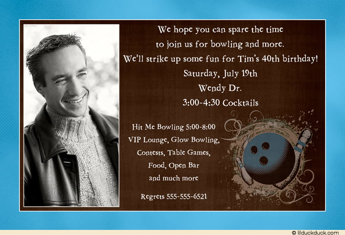 Bowling 40th Birthday Party Invitations Wording