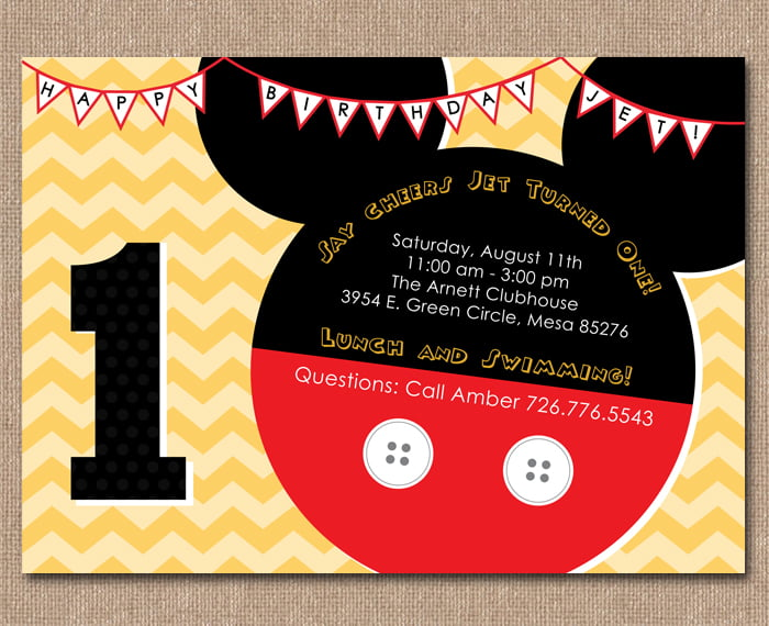 Carnival Mickey Mouse 1st Birthday Invitations