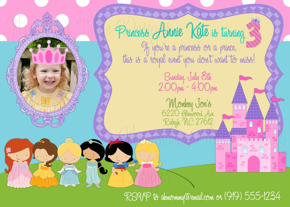 disney princess for girl birthday invitations ideas  bagvania, Birthday invitations