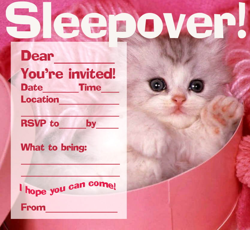 Create printable birthday party invitations bagvania free cat sleepover printable birthday party invitations stopboris Image collections