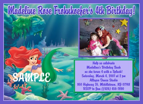 Custom Photo Little Mermaid Birthday Invitations
