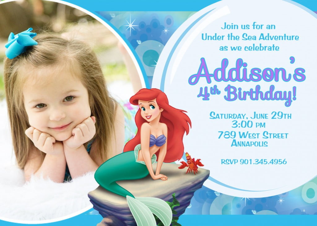 Cute Ariel Mermaid Birthday Invitations