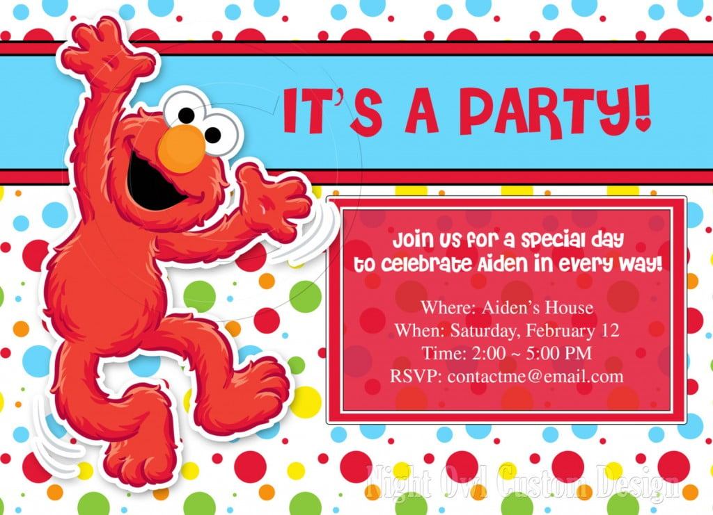 Cute Elmo Customized Birthday Invitations