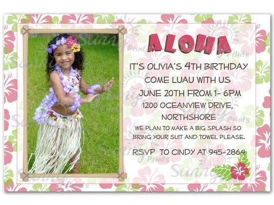 Cute luau birthday invitations