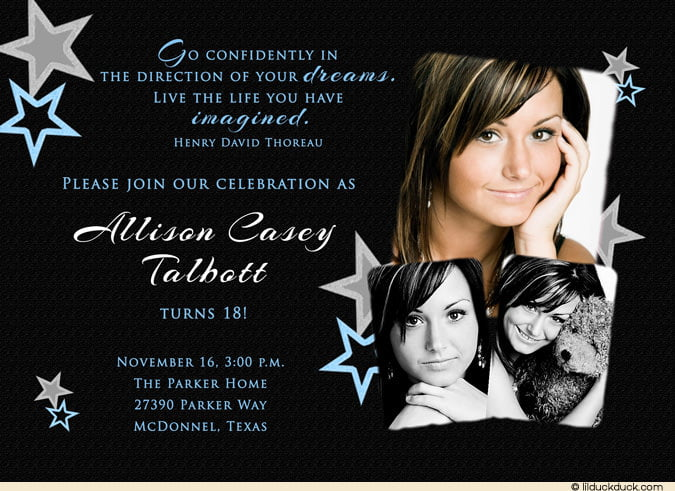 Dark 18th Birthday Invitation Ideas