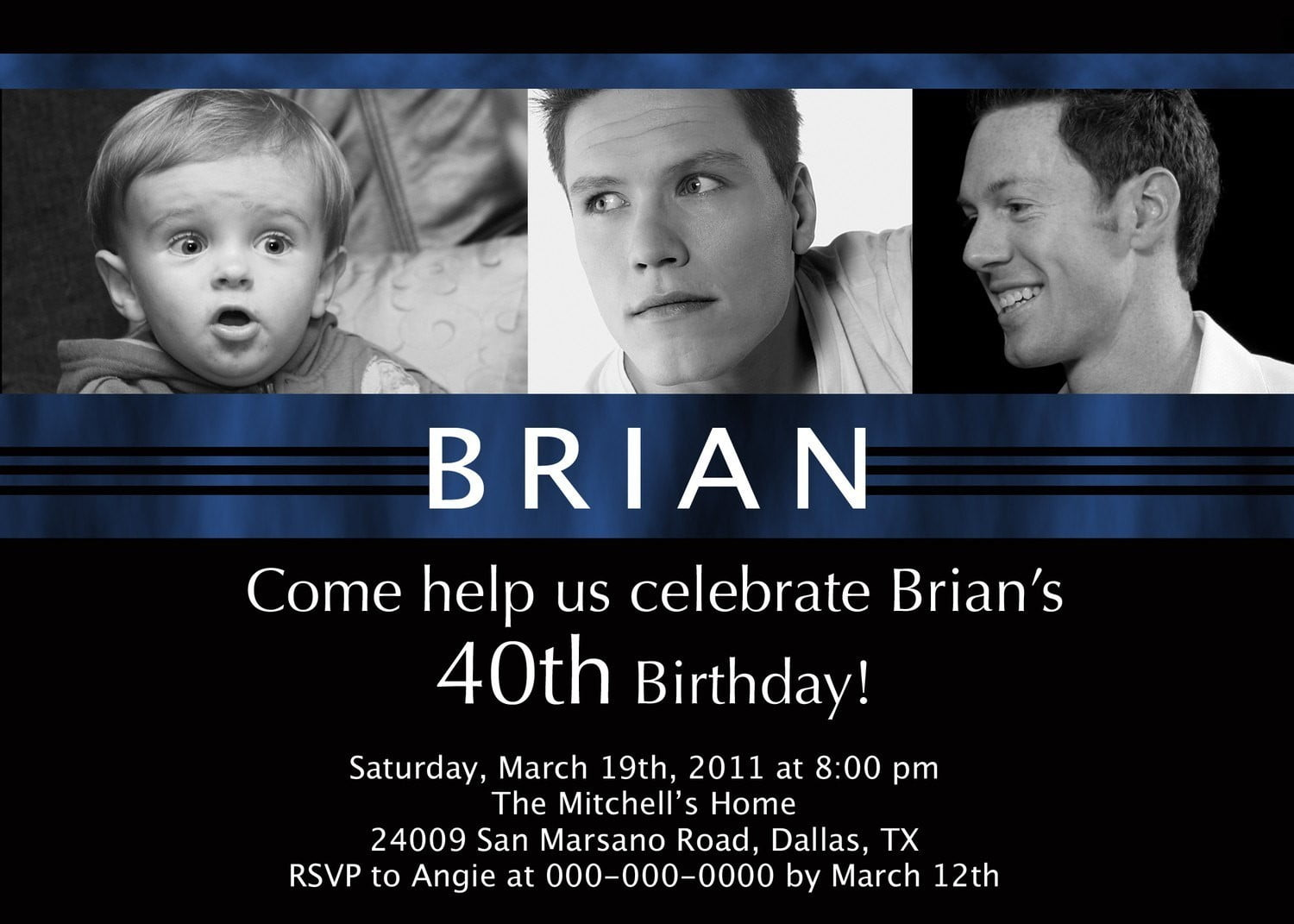 Dark Blue 40th Birthday Party Invitations Wording