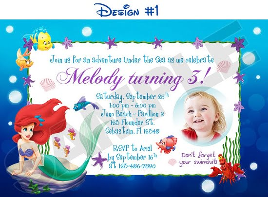 Disney Princess Little Mermaid Birthday Invitations