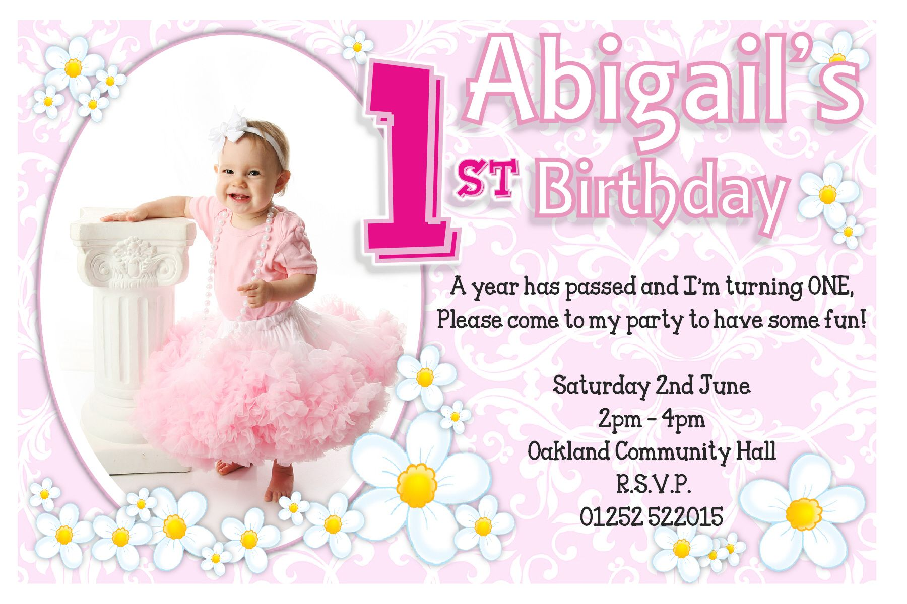 1st Birthday Invitations Ideas For Girl – Bagvania FREE Printable ...