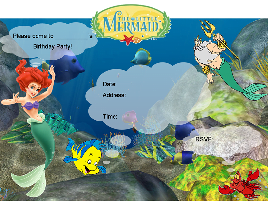 Free printable little mermaid birthday invitations