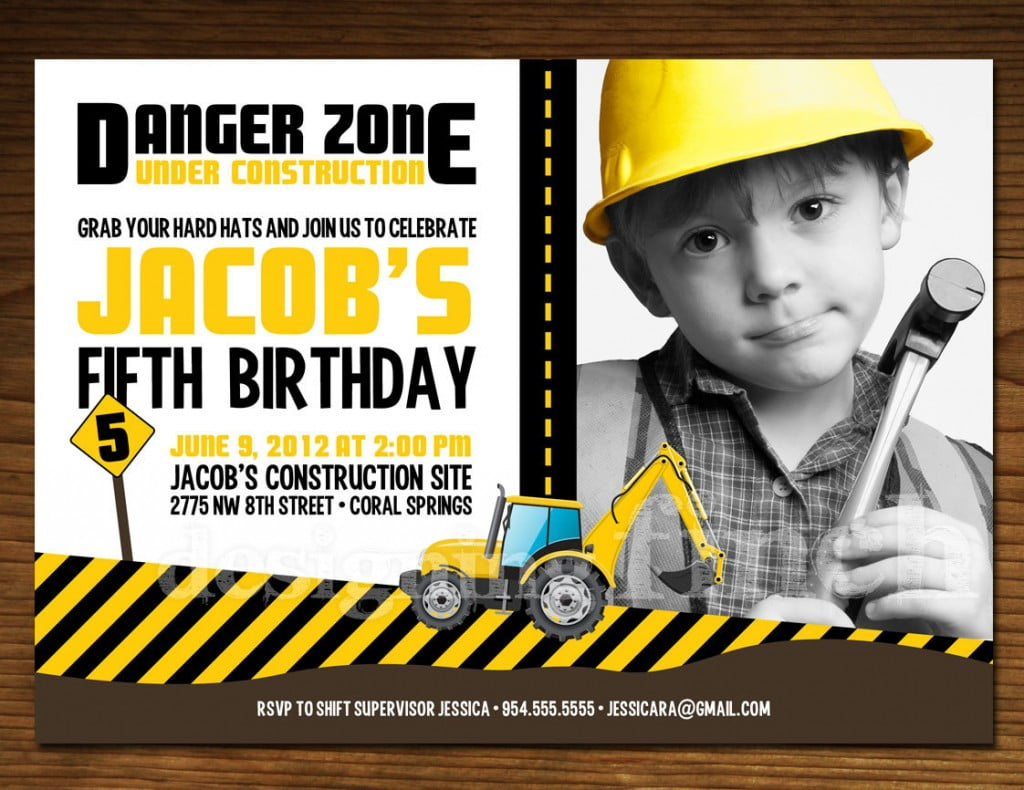 Hard Hat Construction Birthday Invitations