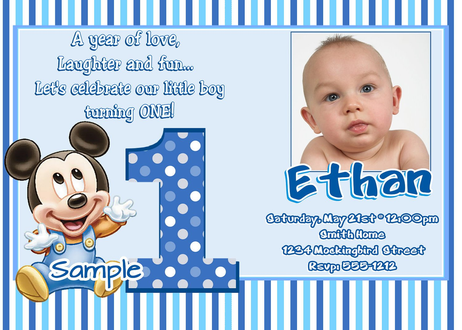 Mickey Mouse 1st Wording – Bagvania FREE Printable Invitation Template