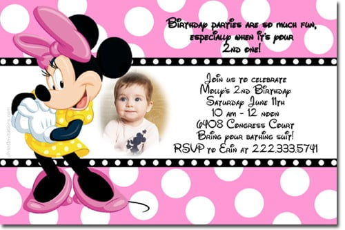 Minnie Mouse Disney Birthday Invitations