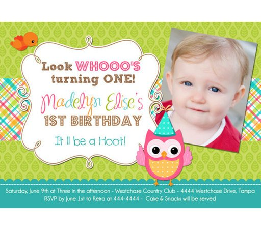 Owl 1st Birthday Invitations Wording Ideas ...