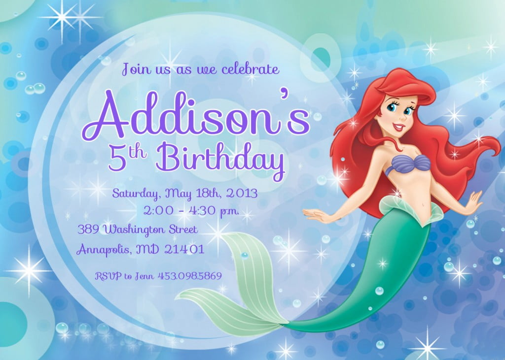 Pearl Ariel Mermaid Birthday Invitations