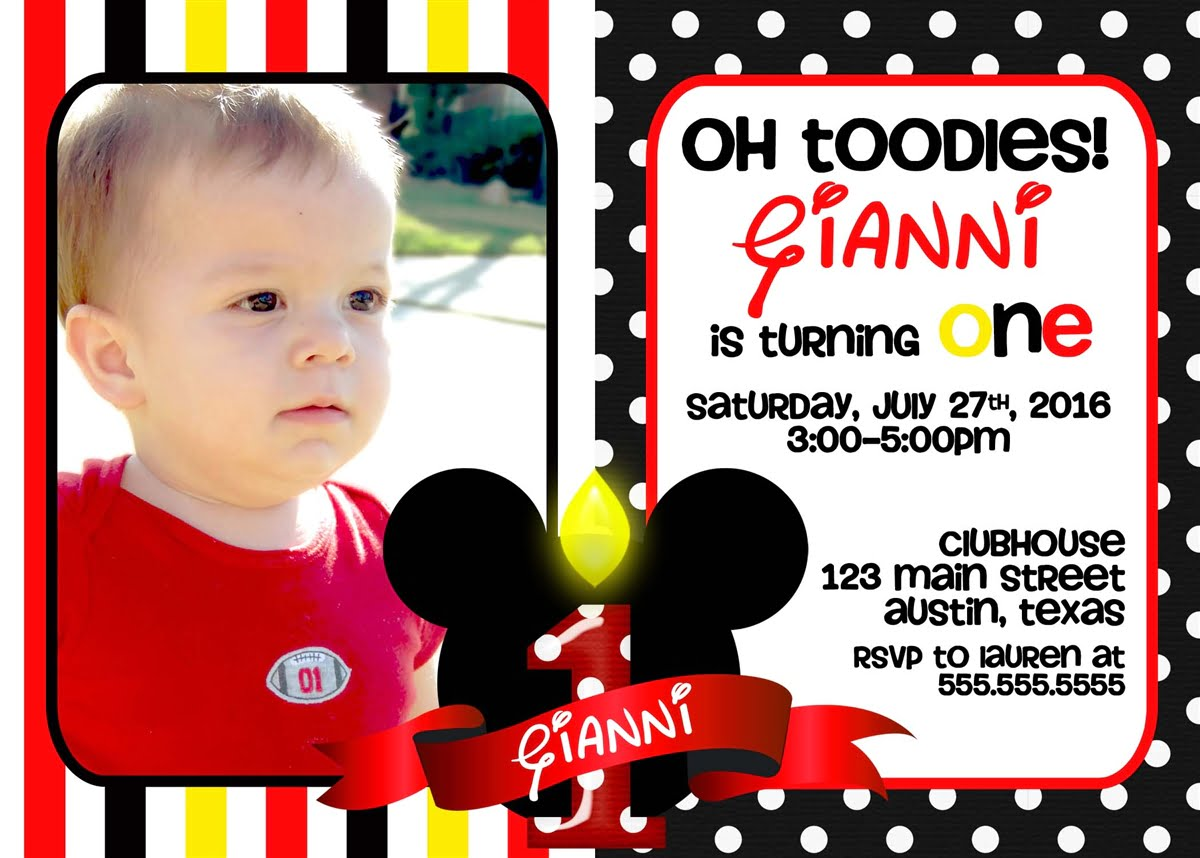 photograph regarding Free Printable Mickey Mouse 1st Birthday Invitations named Photograph Mickey Mouse 1st Cost-free Printable Birthday Invitation