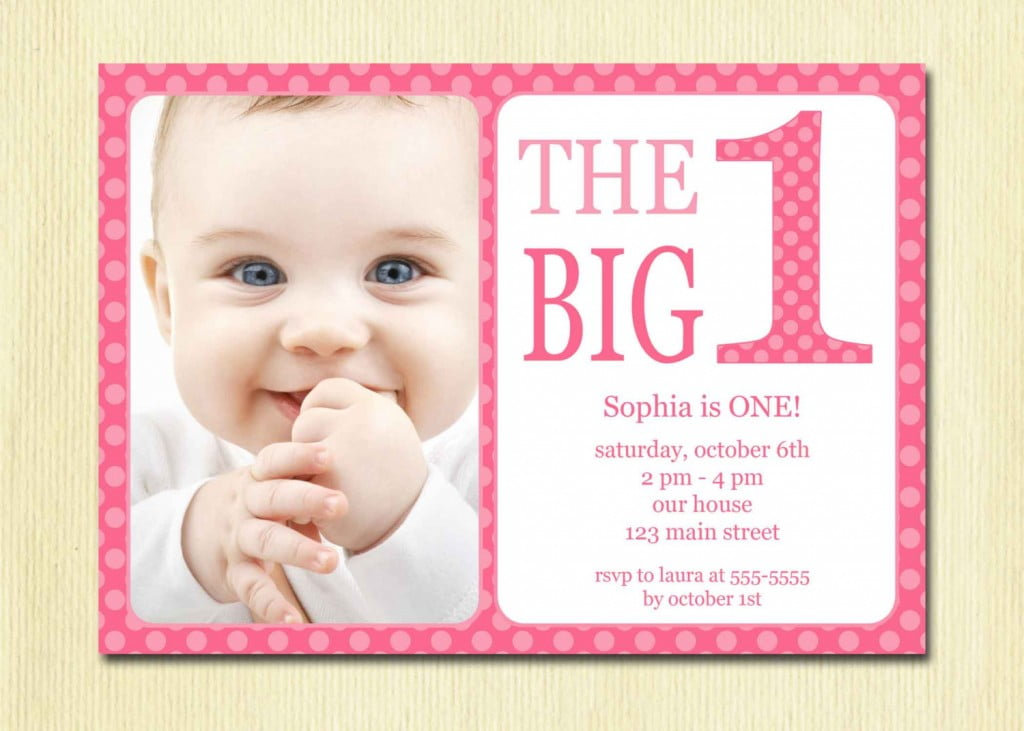Pink 1st Birthday Invitations Wording Ideas