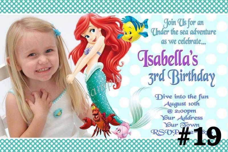 Polka Dots Ariel Mermaid Birthday Invitations