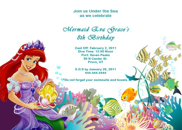 Princess Ariel Mermaid Birthday Invitations
