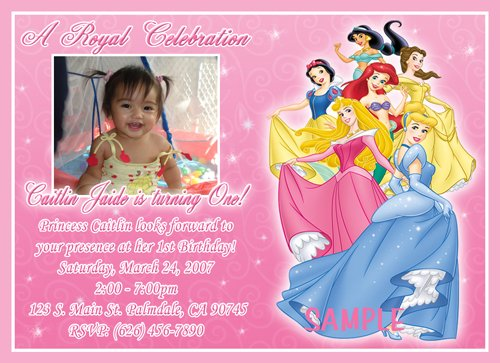 Princess disney birthday invitations