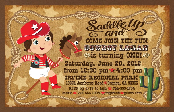Saddle up Cowboy Birthday Invitation