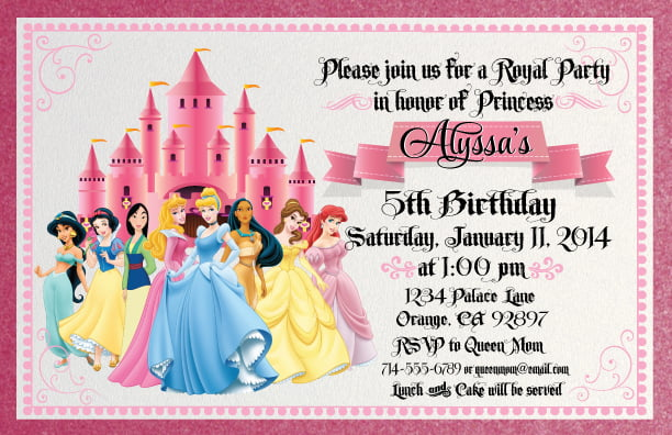 disney princess for girl birthday invitations ideas