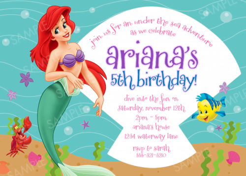 Simple Ariel Mermaid Birthday Invitations